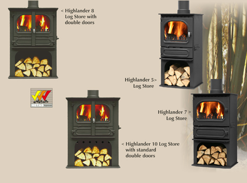 highlander log store stoves