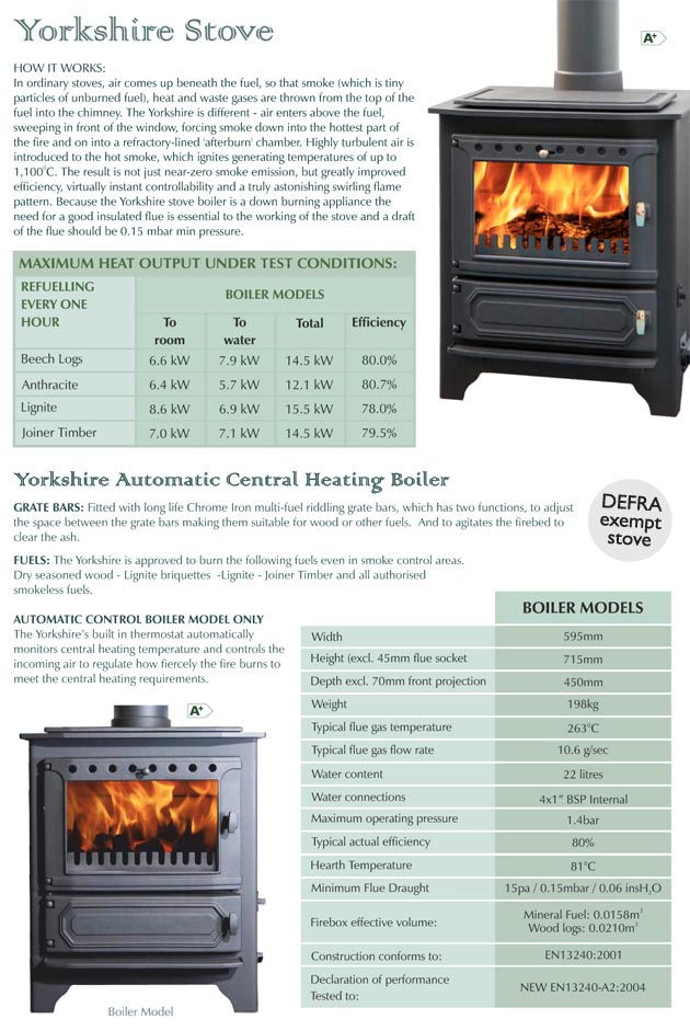 yorkshire stove technical spec